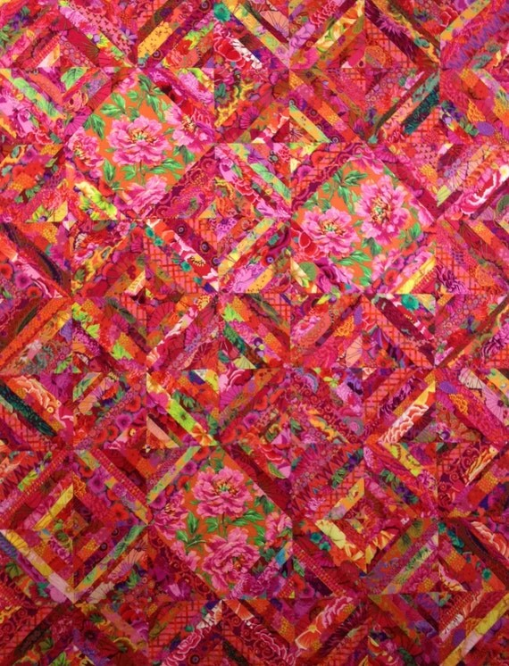 SIZZLING SUMMER #1 Red Quilt Kit, all fabrics by Kaffe Fassett, Philip Jacobs, Brandon Mably