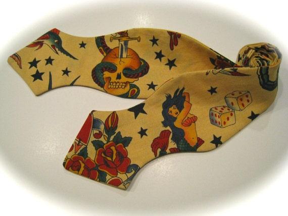 sailor jerry bow tie retro tattoo art rockabilly diamond