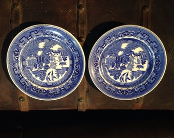 2PC Blue Willow Resturantware USA Buffalo china 8 .25inch