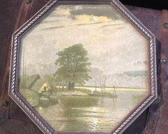 Antique Boat and Water Print with Art Nouveau Silver Octagon Frame with old NRA Code 12-17 (1917 DEC)