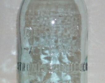 Vintage Atlas Strong Shoulder Mason LG Round  2 Blue Glass Canning Jar