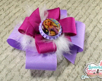 Rapunzel Hair Bow, Tangled Hairbow, Disney Princess, Stacked Boutique Bow with feathers, Purple, Azalea, Bottlecap Bow