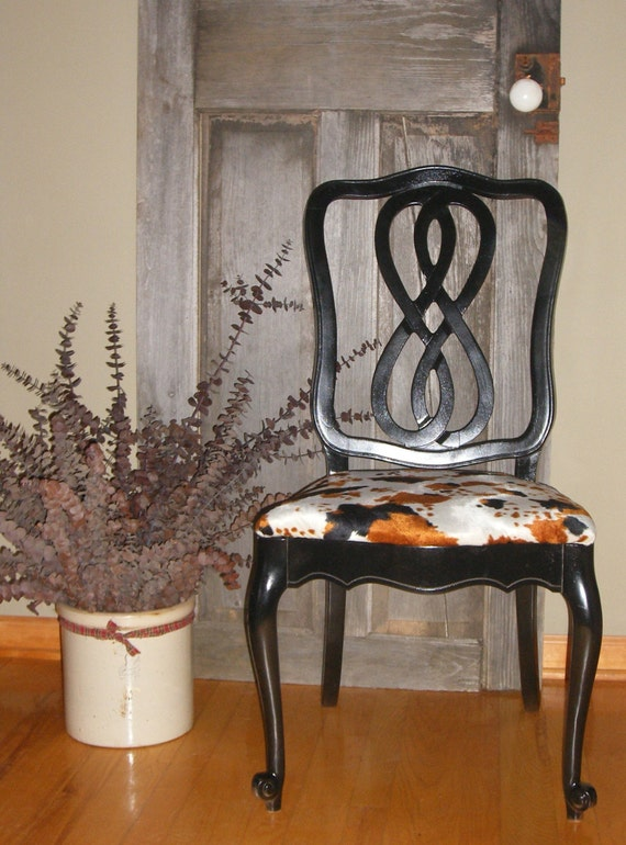 1 Cow Print Dining Chair / Desk Chair / Vanity Chair / Rustic Decor / Accent - Cow Print Dining Chair ReTask
