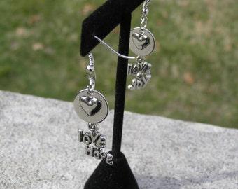 Gorgeous dangling love, hope, joy earrings