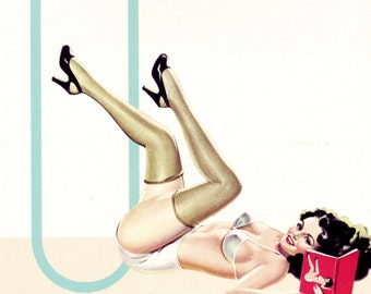 U is for Underwear Pin-Up Girl Poster
