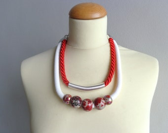 Chunky statement Tribal colorful necklace, silver white red