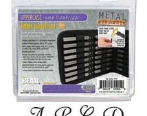 "CAMBRIDGE Alphabet Uppercase Letter Metal Stamp Sets by Beadsmith 6mm Cursive Font 1/4"" Stamp Set"