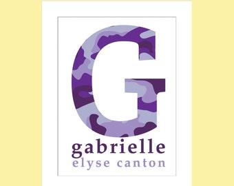 Camouflage Monogram Name/Girl or Boys Room/Camo Nursery -  8x10, 9x12, 11x14, and 12x16