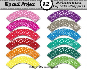 STARS Cupcake Wrappers Rainbow - Instant Download - Candy Bar decoration - Printable