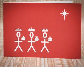 Three Kings Christmas Card - Deep Coral