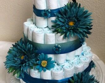 Teal diaper cake