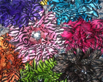 Assorted Flower Clips. Rainbow, Camouflage, Zebra 8/pack