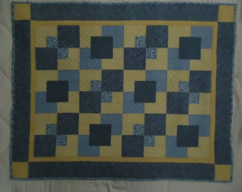 Baby Blocks Crib Quilt in Blue and Yellow