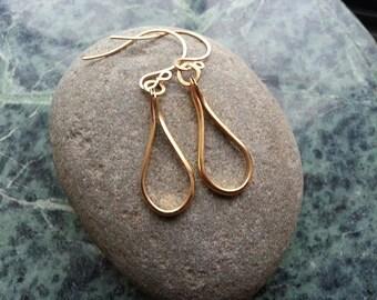 Teardrop earrings. Solid brass teardrops. Heavy gauge teardrop earrings