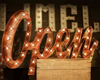 Open Sign, Marquee Open Sign, Marquee Letter, Marquee Sign, Marquee Light Fixture, Custom Signs, Custom Metal Channeled Open Sign