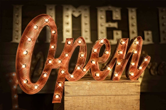 vintage metal letters with lights open sign marquee open sign marquee letter marquee sign 12620