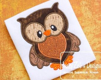 Owl Applique Embroidery Design - owl appliqué design - forest animal applique design - bird appliqué design