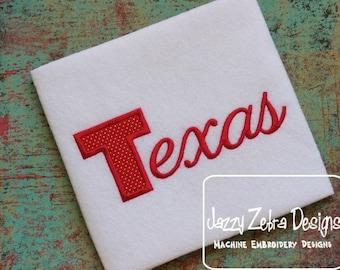 Texas Word Applique embroidery design - texas applique design