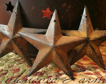 3 Rustic Rusty Barn Stars - 3.5 inch -  Craft Supply Country Cottage Farmhouse Lodge Ornie Ornament Christmas