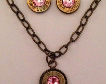 9mm bullet ammo jewelry birthstone necklace earrings October Rose Pink Birthstone