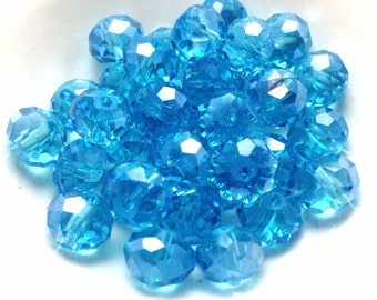 25 Sky Blue Faceted Glass Beads, Light Sky Blue Beads, 8mm X 6mm (BE1002)