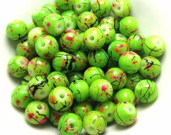 100 Green Glass Beads, Green Drawbench Beads, 6mm, (1-1328)