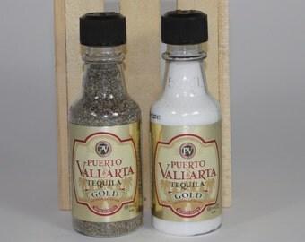 Puerto Vallarta Tequila Gold Salt and Pepper Shaker, Upcycled Liquor Bottles