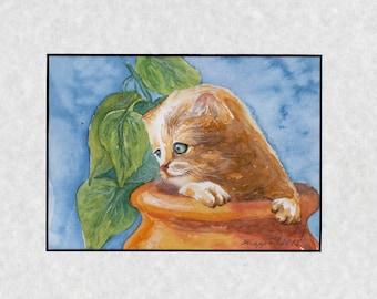 Cat, original watercolor, painting, watercolor, handpainted, 7,8x11,8 inch. inklusive passepartout. orange, cat, nature, lovely cat