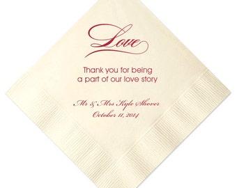100 Personalized Napkins Personalized Napkins  Wedding Napkins Custom Monogram Love Story Heart