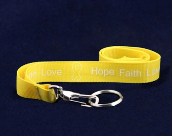 Yellow Ribbon Lanyard - Hope Faith Love (RE-LAN-14H)