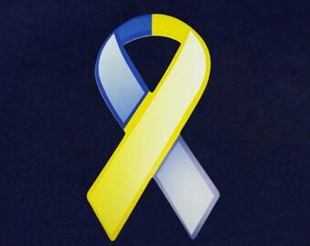 Large Blue & Yellow Paper Ribbons (50 Ribbons)  (PRIB-01-10)