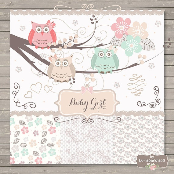 Owl wood clip art graphics, beige, pink pale baby girl owl digital clipart baby, baby shower invitation clipart , birthday invitation