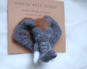 Needle Felted Elephant Badge