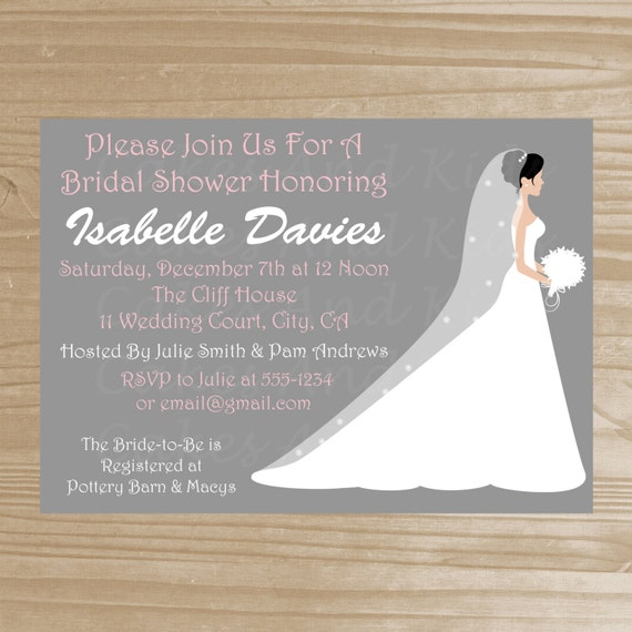 Bridal Shower Invitation - Grey and Pink Bridal Shower Invitation - Printable Bridal Shower Invite - Digital File