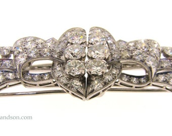 Platinum and Diamond Brooch/Clip