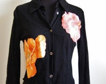 90s FERRAGAMO Flower Patch SHEER Top Blouse Black Size Small floral