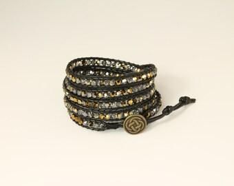 Handmade Leather 5 Wrap Bracelet w/ Swarovski Crystals- black leather w/ 2 tone gold Swarovski Crystals