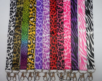 Leopard and Zebra print, color lanyard, Id badge