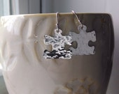 Autism Awareness Earrings - Hammered Puzzle Piece Earrings - Light It Up Blue Earrings