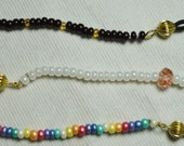 Eye Glass Beaded Bling Cord with Gold findings - Choice of Rainbow or Pearl with Pink Crystals or Brown with Gold and Amber