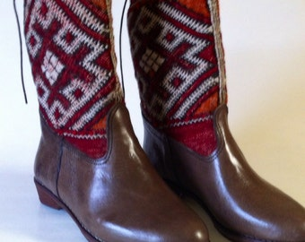 Handcrafted laced leather kilim boots