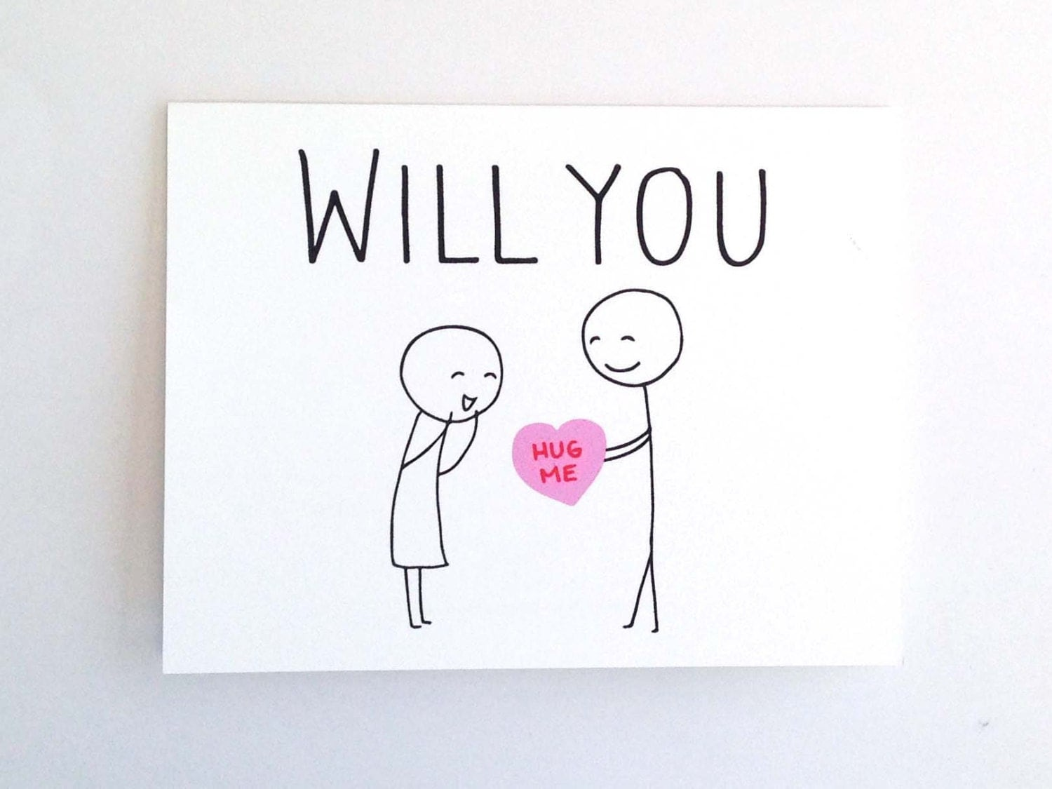 Will You Hug Me Funny Valentine Card for Her Quirky Love – Valentine Card for Lover