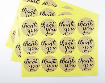 Thankyou Stickers - 36 Round Kraft Stickers - 3 sheets
