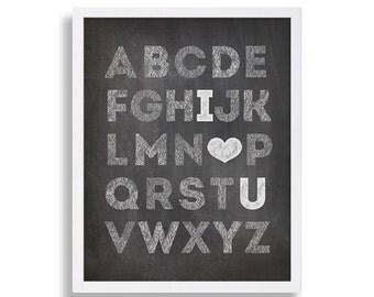 Chalkboard Nursery Art Alphabet Nursery Print Baby Shower Gift Nursery Prints I Love You Nursery Decor White Grey Nursery Alphabet Letters