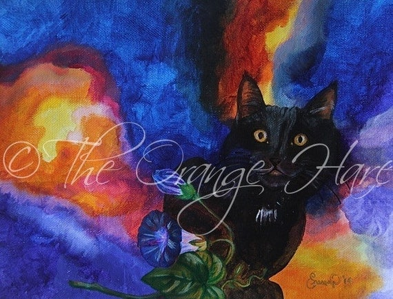 Stevie's Morning Glory 11x14 large print by Ellen Naranjo, Kitty Cat custom art