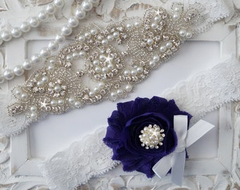 Wedding Garter Set, Bridal Garter Set, Vintage Wedding, Lace Garter, Pearl Garter, Style 200
