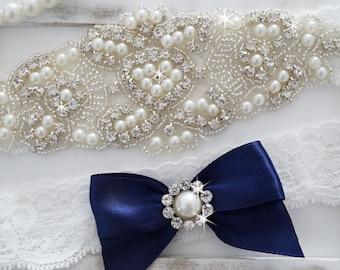 Wedding Garter Set, Bridal Garter Set, Vintage Wedding, Lace Garter, Crystal Garter Set, Pearl Garter-Style 200