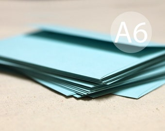 "25 A6 Aqua Blue / Robin Egg Blue Envelopes - 4x6 envelopes (true size 4 3/4"" x 6 1/2"") - Seafoam green - Pool Blue Wedding Envelopes"
