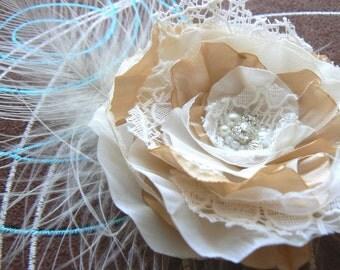 Ivory, cream wedding bridal hair flower, bridal hairpiece, bridal hair clip, wedding hair flower, wedding hair accessories, bridal headpiece