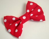 Red Polka Dot Hair Bow 3x4 Inch Fabric Bow Clip 100% Cotton